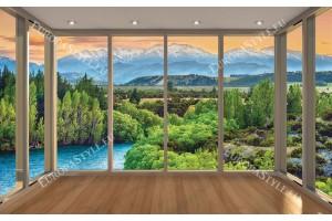 Фототапети планински изглед прозорец gold