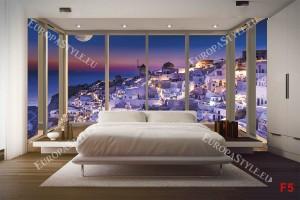Фототапети изглед от САНТОРИНИ прозорец gold