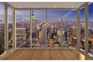 Фототапети изглед от Ню Йорк прозорец gold