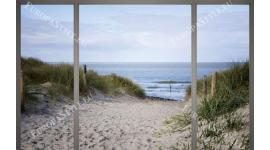 Фототапети морски пейзаж с дюни и пътека прозорец