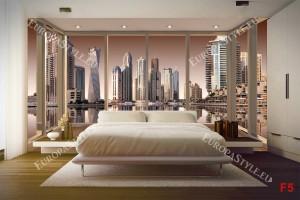 Фототапети изглед от Дубай прозорец gold