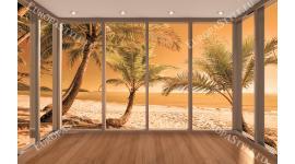 Фототапети бряг с палми на оранжев фон прозорец