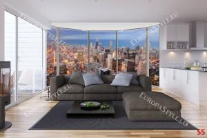 Фототапети урбан гледка през прозорец с високи сгради