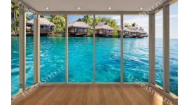 Фото тапети тропически изглед Бора Бора прозорец gold