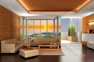 Фототапети прозорец френски голд с морски залез