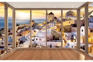 Фото тапет залез над Санторини прекрасна гледка в прозорец 2