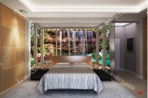 Фототапети водопад водна стена изглед прозорец gold