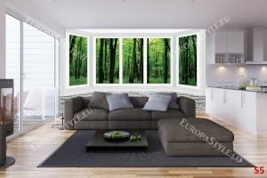 Фототапет имитация прозорец стена гледка зелена гора