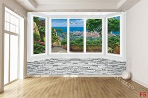 Фототапет имитация прозорец стена гледка на море