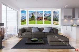 имитация прозорец стена гледка на хижа в планина