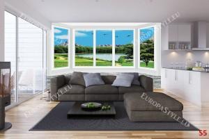 имитация на прозорец стена гледка 3д езеро
