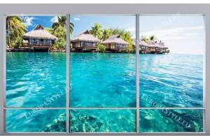 Фототапет изглед на морски вили през френски прозорец нов