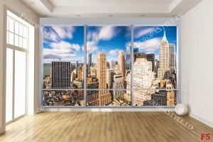 Фототапети изглед френски прозорец финансов център ню йорк