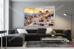 Фототапети изглед френски прозорец нощен Санторини 2