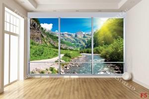 Фототапет имитация прозорец изглед слънчева планина с река