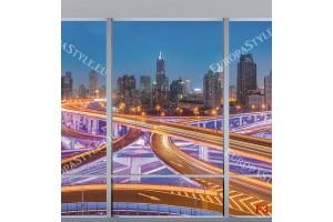 Фототапети 3d изглед прозорец атрактивен изглед светещ Шанхай