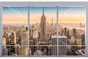 Фототапети 3d прозорец изглед на бруклинския мост Ню Йорк Манхатън