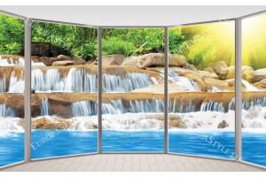 Фототапет 3д френски прозорец изглед слънчев водопад