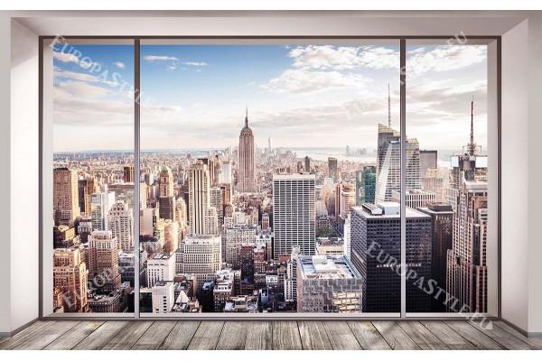 Фототапет имитация на стени с прозорец , под гледка Манхатън