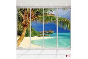 Фототапет морски пейзаж с палми френски прозорец светъл