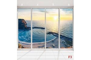Фототапет морски пейзаж залив Болата френски прозорец светъл