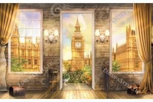 Фототапет 3д ефект на стая гледка през прозорци Лондон