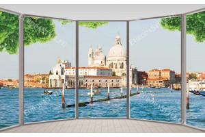 Фототапети градски изглед през прозорец от Венеция по море