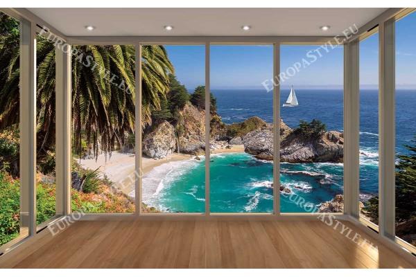 Фототапет прекрасен морски пейзаж с ефект 4 модела  прозорец