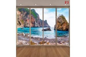 Фототапети морски залив със скали прозорец голд