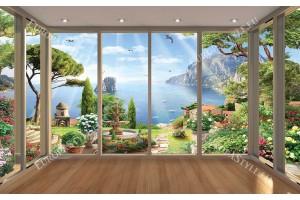 Фототапет френски прозорец на прекрасен морски залив и градина