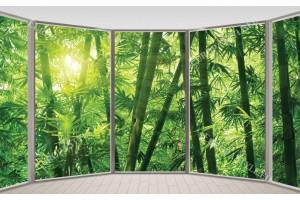 Фототапети овална гледка през прозорец на бамбукова гора