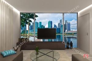 Фототапети дневен изглед на слънчев Сингапур прозорец