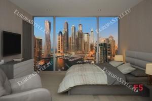 Фототапети изглед на небостъргачи в Дубай прозорец 2