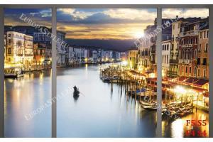 Фототапети нощен изглед на канала Венеция прозорец