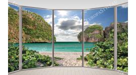 Фототапети прозорец овал гледка морски бряг
