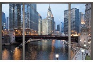 Фототапети панорамен нощен изглед на Чикаго и река прозорец