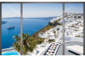 Фототапет изглед от Санторини френски прозорец