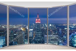Фототапет Манхатън кулата изглед прозорци овал