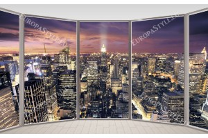 Фототапет нощна панорама Ню Йорк прозорец