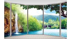 Фототапет прозорец овал гледка водопад