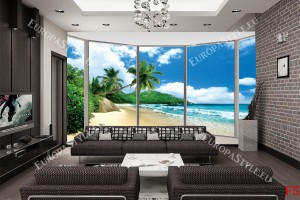 Фототапет прозорец овал гледка бряг палми