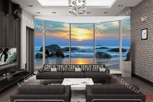 Фототапет прозорец овал гледка морски залез