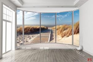 Фототапет прозорец овал гледка морска пътека