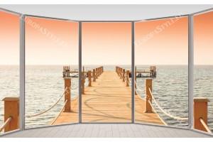 Фототапет прозорец овал гледка море мостик