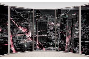 Фототапет прозорец овал гледка черен град