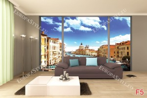 Фототапети изглед прозорец Гранд канал Венеция