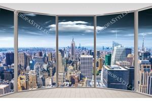 Фототапети прозорец с изглед кулата  на Манхатън цветен