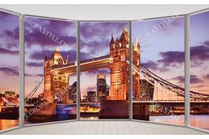 Фототапети прозорец на моста Тауер в Лондон в лилаво