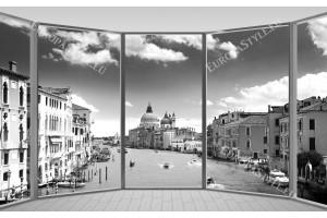 Фототапети прозорец изглед на канала Гранде във Венеция 2 цвята