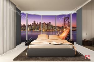 Фототапети прозорец-нощен изглед на мост в лилаво